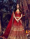 image of Red Color Bhagalpuri Bridal Lehenga Choli With Stylish Embroidery Designs