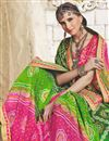 photo of Designer Embroidered Bandhej Saree In Green And Pink Georgette