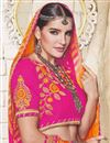 photo of Designer Embroidered Bandhej Saree In Orange And Pink Georgette