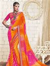 image of Function Wear Georgette Embroidered Bandhej Saree In Orange And Pink