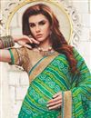 photo of Georgette Embroidered Green And Sky Blue Function Wear Bandhani Saree