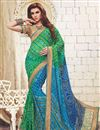 image of Embellished Green And Sky Blue Bandhani Fancy Saree In Georgette
