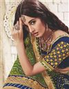 photo of Georgette Embroidered Green And Navy Blue Function Wear Bandhani Saree