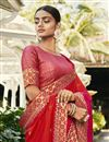 photo of Red Color Party Wear Saree In Satin Silk And Georgette With Embroidery Work And Beautiful Blouse