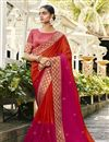 image of Red Color Party Wear Saree In Satin Silk And Georgette With Embroidery Work And Beautiful Blouse