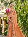 image of Satin Silk And Georgette Peach Color Festive Wear Saree With Embroidery Work And Attractive Blouse