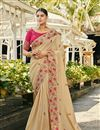 image of Embroidery Work On Satin Silk And Georgette Beige Color Function Wear Saree With Marvelous Blouse