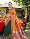 image of Orange Color Jacquard Silk Wedding Wear Saree With Embroidery Work And Gorgeous Blouse