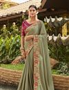 image of Satin Silk And Georgette Embroidery Designs On Dark Beige Color Reception Wear Saree With Attractive Blouse