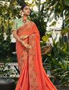 image of Satin Silk And Georgette Peach Color Embroidered Designer Saree With Designer Blouse