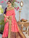 image of Function Wear Pink Weaving Work On Saree In Banarasi Silk