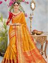 image of Weaving Designs On Orange Banarasi Silk Traditional Saree With Blouse
