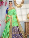 image of Banarasi Silk Sea Green Designer Traditional Saree With Weaving Work