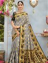 image of Weaving Designs On Grey Banarasi Silk Traditional Saree With Blouse