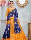 image of Navy Blue Weaving Work On Banarasi Silk Party Wear Saree With Blouse