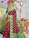 image of Banarasi Silk Party Wear Saree In Burgundy Color With Weaving Designs