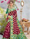 image of Wedding Special Banarasi Silk Burgundy Color Designer Saree With Weaving Work With Blouse