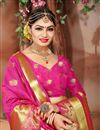 photo of Alluring Traditional Cotton Silk Festive Wear Weaving Work Saree In Pink