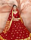 photo of Alluring Traditional Red Festive Wear Weaving Work Saree In Cotton Silk