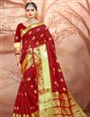 image of Alluring Traditional Red Festive Wear Weaving Work Saree In Cotton Silk
