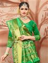 photo of Stunning Cotton Silk Traditional Weaving Work Green Festive Wear Saree