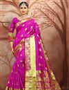 image of Traditional Spectacular Cotton Silk Magenta Color Festive Wear Saree With Weaving Work