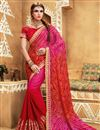 image of Red And Pink Color Bandhani Style Party Wear Saree With Raw Silk Unstitched Designer Blouse