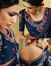 photo of Georgette Fabric Lace Work On Navy Blue Color Bandhani Saree