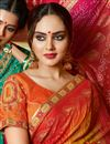 photo of Lace Work On Orange Color Georgette Fabric Bandhani Style Saree