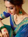 photo of Lace Work On Georgette Fabric Designer Bandhani Style Saree In Blue Color With Attractive Blouse