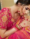 photo of Lace Work Georgette Fabric Rani Color Designer Bandhani Style Saree With Mesmerizing Blouse