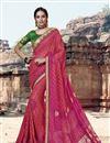 image of Fancy Festive Wear Georgette Fabric Rani Color Bandhej Printed Saree