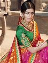 photo of Georgette Fabric Fancy Festive Wear Rani Color Bandhani Printed Saree