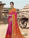 image of Georgette Fabric Fancy Festive Wear Rani Color Bandhani Printed Saree