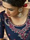 photo of Fancy Navy Blue Georgette Fabric Festive Wear Bandhej Printed Saree