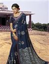image of Fancy Navy Blue Georgette Fabric Festive Wear Bandhej Printed Saree