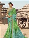 image of Green Georgette Fabric Fancy Festive Wear Bandhani Printed Saree