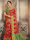 image of Art Silk Trendy Party Style Red Designer Saree With Weaving Work