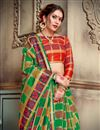 photo of Art Silk Designer Green Saree For Functions With Weaving Work