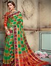 image of Art Silk Designer Green Saree For Functions With Weaving Work