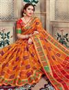 photo of Designer Function Wear Orange Color Saree In Art Silk With Weaving Work