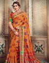 image of Art Silk Trendy Party Style Orange Designer Saree With Weaving Work