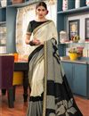 image of Beige Color Printed Art Silk Casual Function Wear Saree