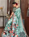 photo of Best Selling Printed Casual Style Cyan Saree In Art Silk
