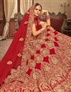 photo of Embroidered Velvet Fabric Bridal Lehenga In Red Color With Designer Choli