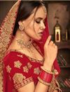 photo of Red Color Wedding Wear 3 Piece Lehenga In Velvet Fabric With Embroidery Work