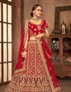 image of Red Color Wedding Wear 3 Piece Lehenga In Velvet Fabric With Embroidery Work