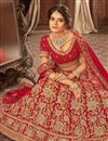 photo of Embroidery Work On Wedding Wear Bridal Lehenga In Velvet Fabric Red Color With Blouse
