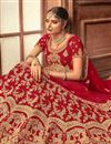 photo of Velvet Fabric Designer Bridal Lehenga With Embroidery Work On Red Color