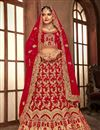 image of Velvet Fabric Designer Bridal Lehenga With Embroidery Work On Red Color